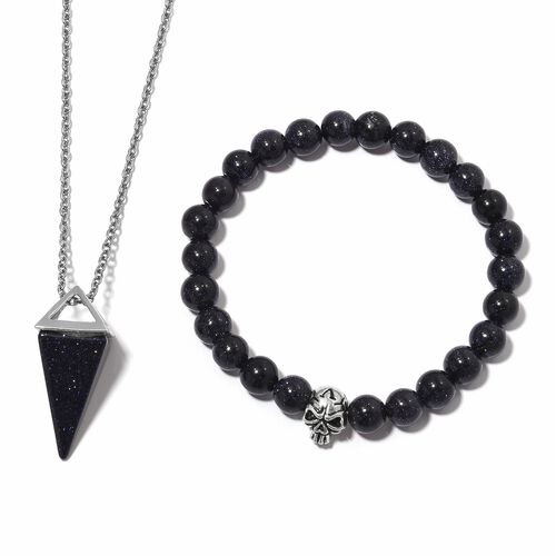 Blue Sandstone Stretchable Beads Skull Bracelet (Size 7.5) and Pyramid Pendant With Chain (Size 20) in Black Plated 87.000 Ct.