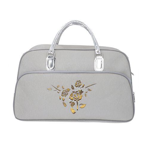 Flower Pattern Travel Bag with Detachable Shoulder Strap and Zipper Closure (Size 52x20x34 Cm) - White