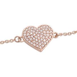 9K Rose Gold Pink Diamond (Rnd) Heart Bracelet (Size 7.5) 0.330 Ct.