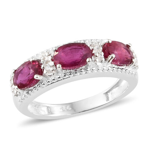 African Ruby (Ovl), Natural White Cambodian Zircon Ring in Sterling Silver 2.250 Ct