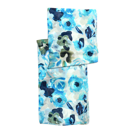 100% Mulberry Silk Blue, Off White and Multi Colour Handscreen Printed Scarf (Size 180x50 Cm)
