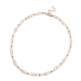 White Austrian Crystal Necklace (Size 20 with Extender) in Yellow Gold Tone