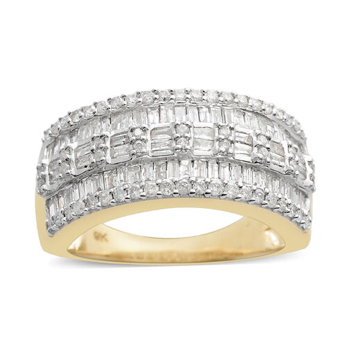 9K Yellow Gold SGL Certified Diamond (Bgt) (I3/G-H) Ring 1.000 Ct.