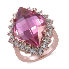 J Francis - Crystal from Swarovski Rose Colour Crystal and White Crystal Ring (Size O) in Rose Gold Overlay S