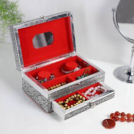 3D Embossed Collection Handcrafted Elephant Design Oxidised Jewellery Box with Drawer Chest (Size 22