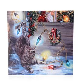Home Decor - 5 LED light Framed Canvas Christmas Painting Wall Decor (Size 40x40 Cm)