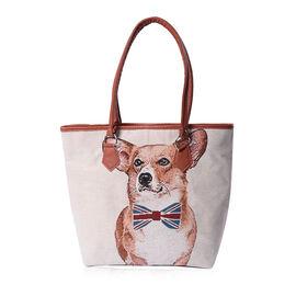 Adorable Dog Pattern Jute Tote Bag (Size 42/32x10.5x35cm) - Beige