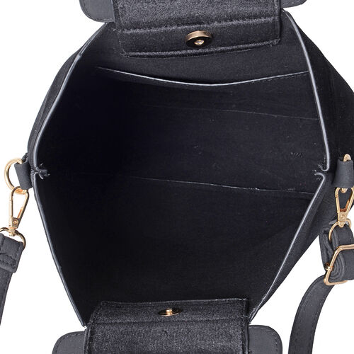 Luxe Velvet Classic Black Top Handle Bag with Removable Shoulder Strap(Size 31x31x26 Cm)