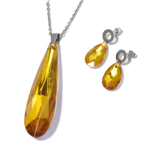 Bank Holiday Mega Offer-Simulated Citrine Pendant with Chain and Earrings in Stainless Steel.