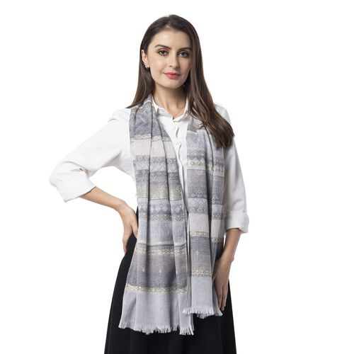 Grey, Cream and Multi Colour Scarf with Strip Pattern (Size 180x68 Cm)