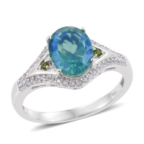 Peacock Quartz (Ovl 5.90 Ct), Natural Cambodian Zircon and Russian Diopside Ring in Platinum Overlay