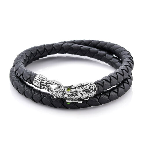 Royal Bali Collection - 100% Genuine Leather Single Dragon Head Bracelet (Size 7.5) in Sterling Silv