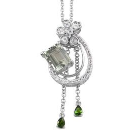 Prasiolite (Oct 10x8 mm), Natural Cambodian Zircon and Russian Diopside Pendant With Chain (Size 18)