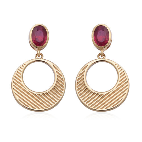 2.20 Ct African Ruby Drop Earrings in Gold Plated Sterling Silver