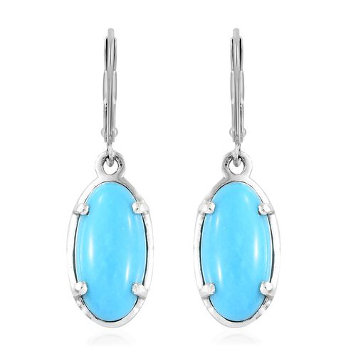 Arizona Sleeping Beauty Turquoise (Ovl) Lever Back Earrings in Platinum Overlay Sterling Silver 5.000 Ct.