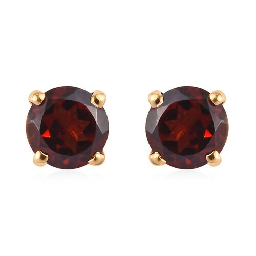 Mozambique Garnet Stud Earrings in 14K Gold Overlay Sterling Silver 0.84 Ct.
