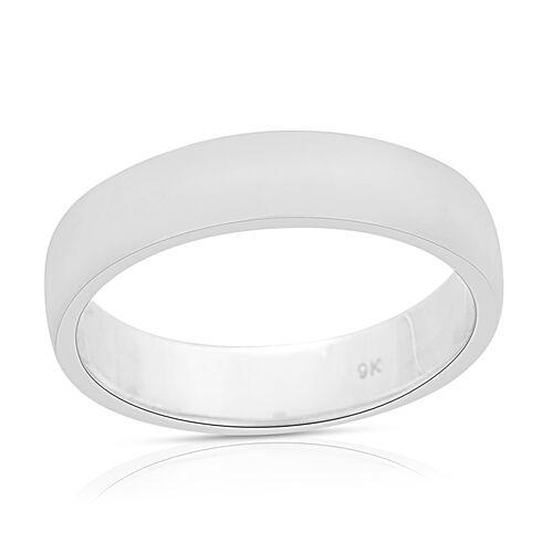 5.4 mm Plain Wedding Band Ring in 9K White Gold 4.10 grams