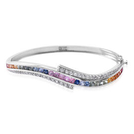 Designer Inspired-Rainbow Sapphire (Rnd), Natural White Cambodian Zircon Bangle (Size 7.5) in Rhodium Plated Sterling Silver 6.600 Ct. Silver wt 18.00 Gms.