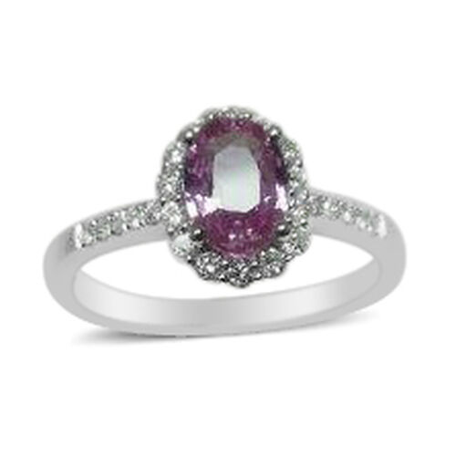 New York Close Out Deal - 14K White Gold AAAA Hot Pink Sapphire (Ovl 0.90 Ct), Diamond (I1-I2/G-H) Ring 1.160 Ct.