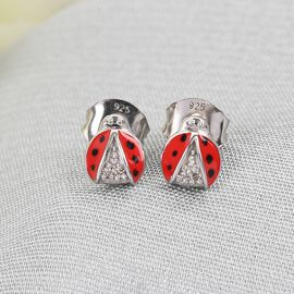 GP Italian Garden Leaf & Flower Collection - Diamond and Kanchanaburi Blue Sapphire Enamelled Lady Bug Stud Earrings (With Push Back)  in Platinum Overlay Sterling Silver