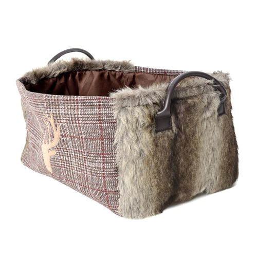 Set of 2 - Plaid Pattern Storage Basket  with Faux Fur