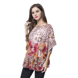 Designer Inspired - Chocolate, Pink and Multi Colour Leopard and Jewellery Pattern Poncho (Free Size