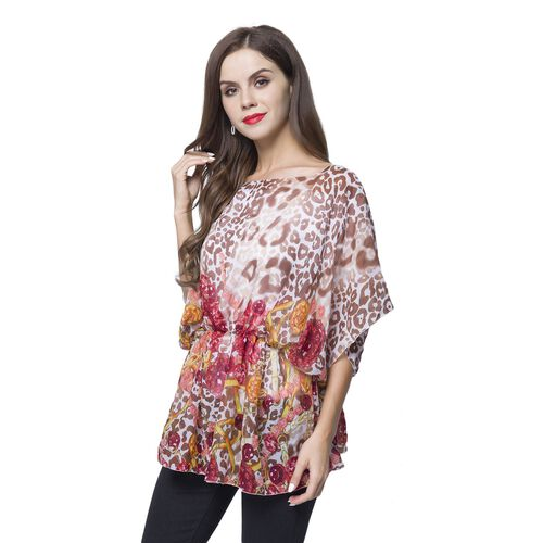 Designer Inspired - Chocolate, Pink and Multi Colour Leopard and Jewellery Pattern Poncho (Free Size)