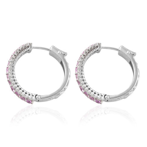 Pink Sapphire (Rnd), Natural Cambodian Zircon Hoop Earrings (with Clasp) in Platinum Overlay Sterling Silver 4.00 Ct, Silver wt: 10.25 Gms, Number of Gemstone 104