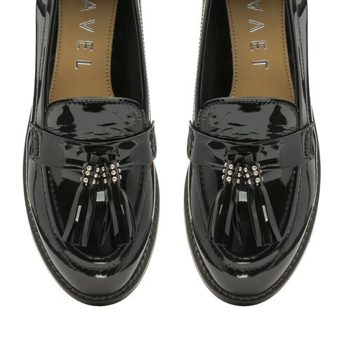 Ravel Black Levin Patent Leather Low Heel Loafers (Size 3)