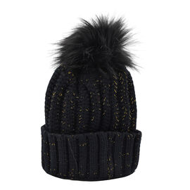 Knitted Cable Design Hat with Faux Fur Bobble (One Size) - Black