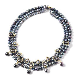 LucyQ Pearl Drop Collection - Freshwater Peacock Pearl and Natural Cambodian Zircon Necklace (Size 1
