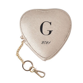 100% Genuine Leather G Initial Heart Shape Coin Card / Purse with Key Chain in Gold Colour (Size 12x