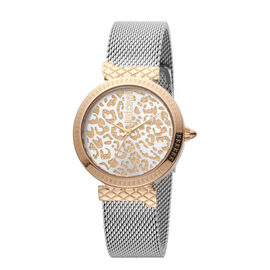 Just Cavalli Animalier Japanese Movement Ladies Bracelet Watch in Silver and Rose Gold Tone