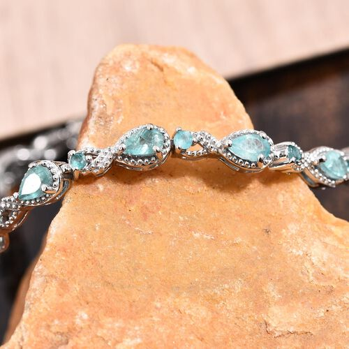 Grandidierite (Pear and Rnd) Bracelet (Size 7.5) in Platinum Overlay Sterling Silver 4.00 Ct.