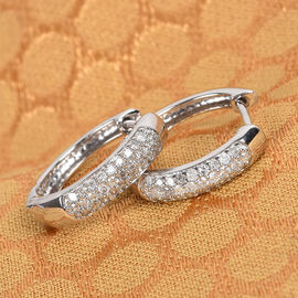 Sundays Child- 9K White Gold SGL Certified Diamond (I3/G-H) Huggie Hoop Earrings (with Clasp) 0.50 Ct.