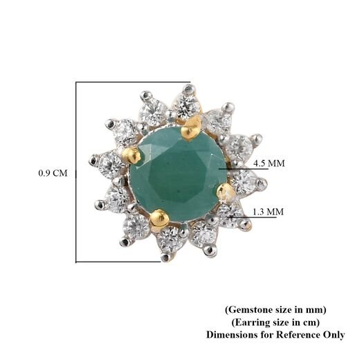 Grandidierite and Natural Cambodian Zircon Starburst Halo Stud Earrings (with Push Back) in 14K Gold Overlay Sterling Silver 1.24 Ct.