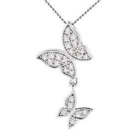 Moissanite Butterfly Pendant in Rhodium Overlay Sterling Silver