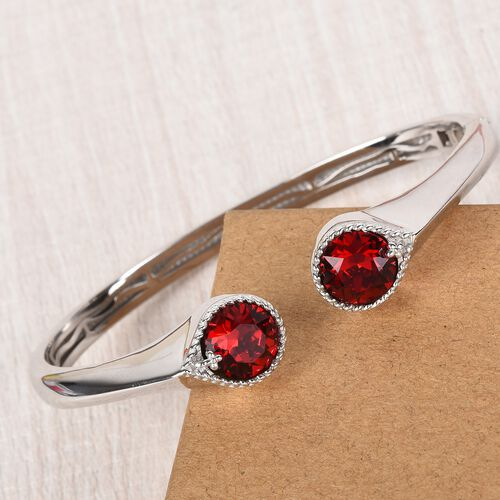 J Francis - Crystal from Swarovski Siam Colour Crystal Cuff Bangle (Size 7.5) in Platinum Plated