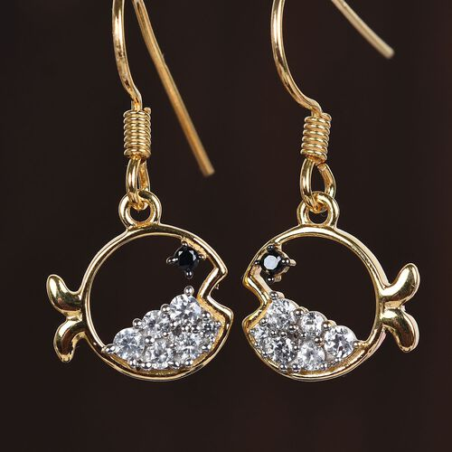 Boi Ploi Black Spinel and Natural Cambodian Zircon Fish Hook Earrings in 14K Gold Overlay Sterling Silver 1.03 Ct.