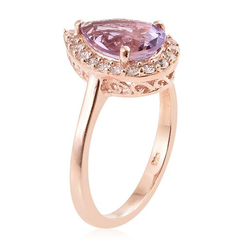 Rose De France Amethyst (Pear 2.50 Ct), Natural Cambodian Zircon Ring in Rose Gold Overlay Sterling Silver 3.000 Ct.