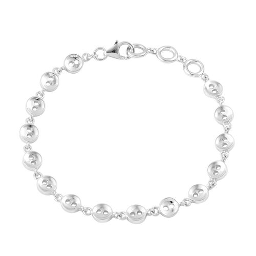 LucyQ Button Bracelet (Size 7.75) in Rhodium Plated Sterling Silver 9.78 Gms.