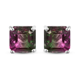 Bi-Color Quartz (Asscher 7x7mm) Solitaire Earrings (with Push Back) in Sterling Silver 3.66 Ct.