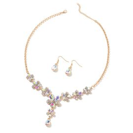 Magic Colour Simulated Diamond (Pear), White Austrian Crystal BIB Necklace (Size 20.5 and 2.5 inch Extender) and Drop Hook Earrings in Yellow Gold Tone