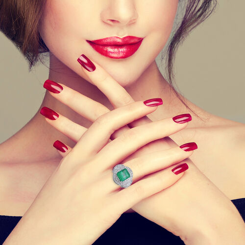 Signature Collection - 900 Platinum AAAA Boyaca Colombian Emerald (Oct 11x9mm), Diamond Ring 5.64 Ct, Platinum wt 8.55 Gms