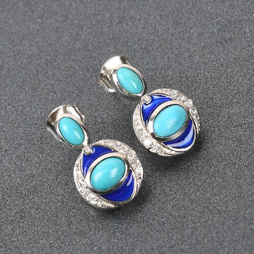 Arizona Sleeping Beauty Turquoise and Natural Cambodian Zircon Enamelled Earrings (with Push Back) in Platinum Overlay Sterling Silver 1.14 Ct.