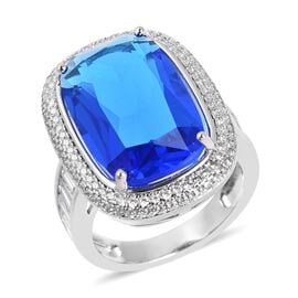 Simulated Blue Topaz (Cush 19x12 mm), Simulated Diamond Ring in Silver Plated