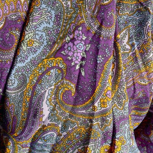 Purple, Grey and Multi Colour Paisley Pattern Palazzo Trouser (Free Size)