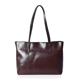 100% Genuine Leather Tote Bag with Zipper Closure (Size 39x12x27 Cm) - Chocolate