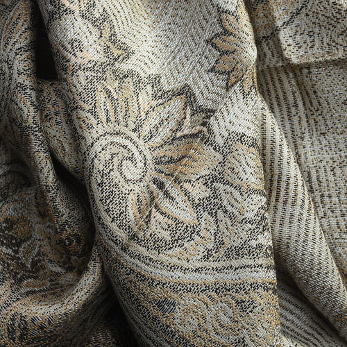 100% Silk Beige and Multi Colour Floral and Paisley Pattern Scarf (Size 180x70 Cm)
