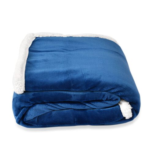 Brand New - Superfine Microfibre Blue and White Reversible Double Layer Sherpa Blanket (Size 200X150 Cm)